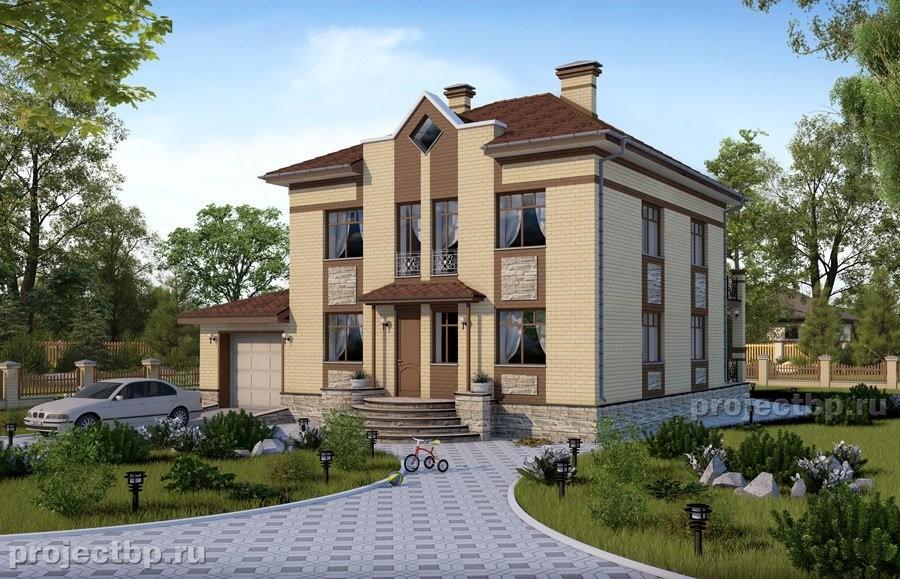 Проект двухэтажного дома с гаражом и террасой B-194