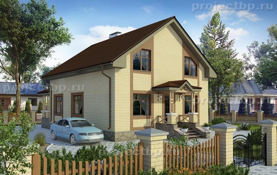 Проект дома c мансардой, террасой и облицовкой кирпичом D-139