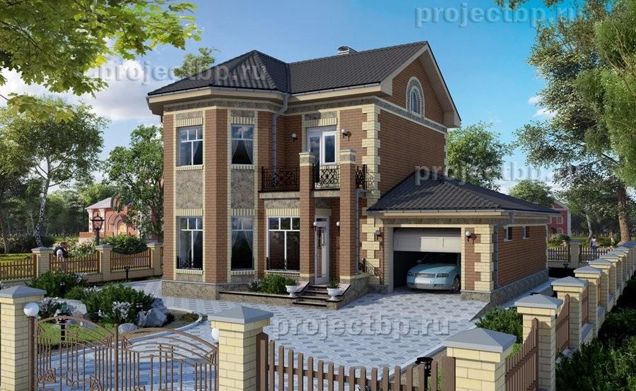 Проект двухэтажного дома с эркером и гаражом B-138