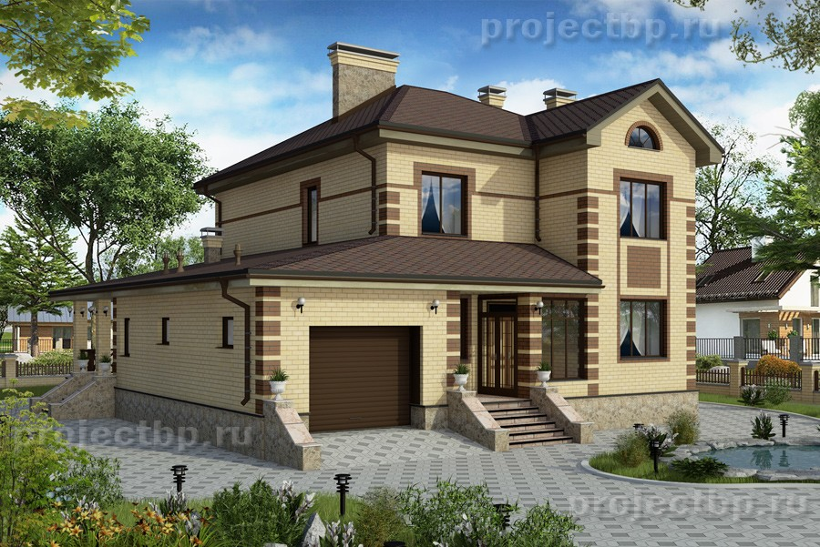 Проект двухэтажного дома с подвалом и гаражом  255-B