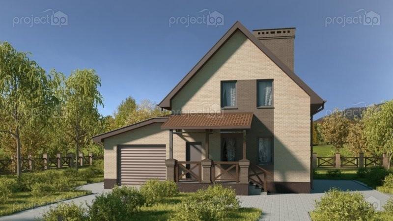 Проект малого мансардного дома из блоков с гаражом C-112