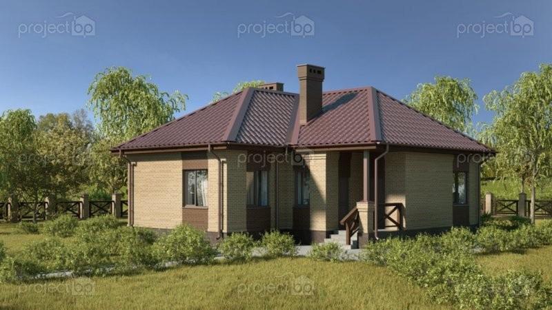 Проект одноэтажного дома с шатровой крышей 75-C