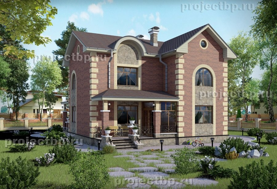 Проект двухэтажного дома в классическом стиле. B-131